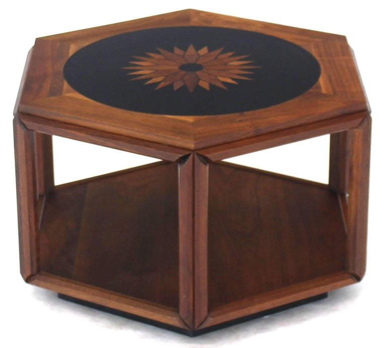 Oiled walnut hexagonal centre side table by John Keal for Brown Saltman.