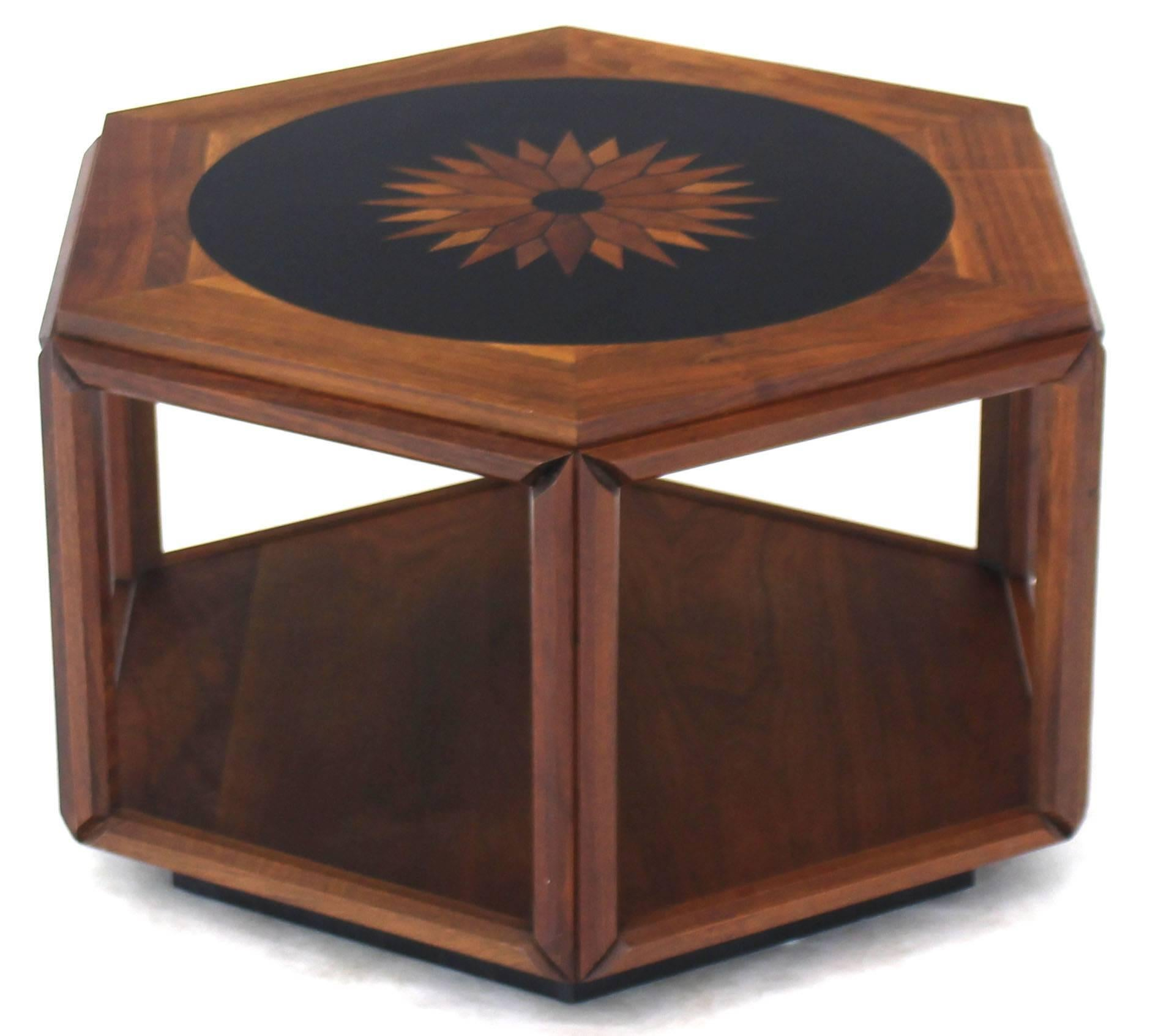 Oiled Walnut Hexagonal Centre Side Table By John Keal For Brown Saltman. High  Quality Walnut