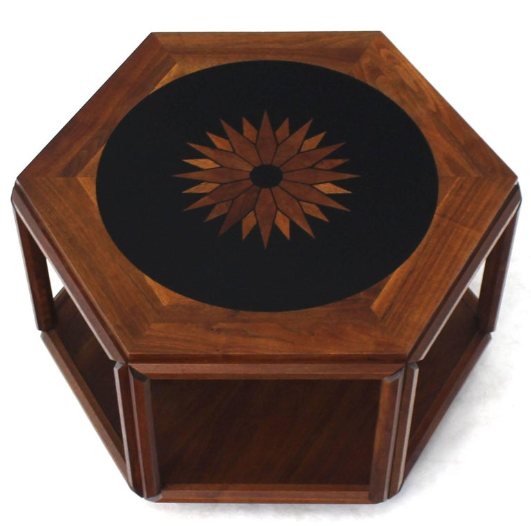 Mid-Century Modern Brown Saltman Hexagonal End Table with Sunburst Inlay For Sale