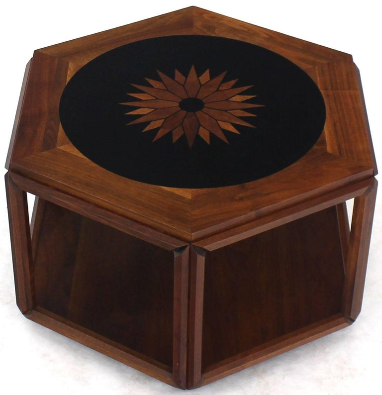 American Brown Saltman Hexagonal End Table with Sunburst Inlay For Sale
