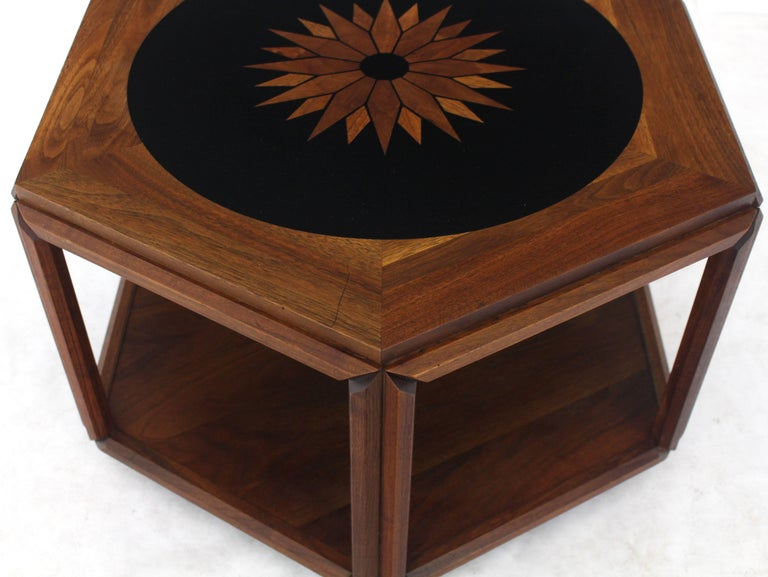 Oiled Brown Saltman Hexagonal End Table with Sunburst Inlay For Sale