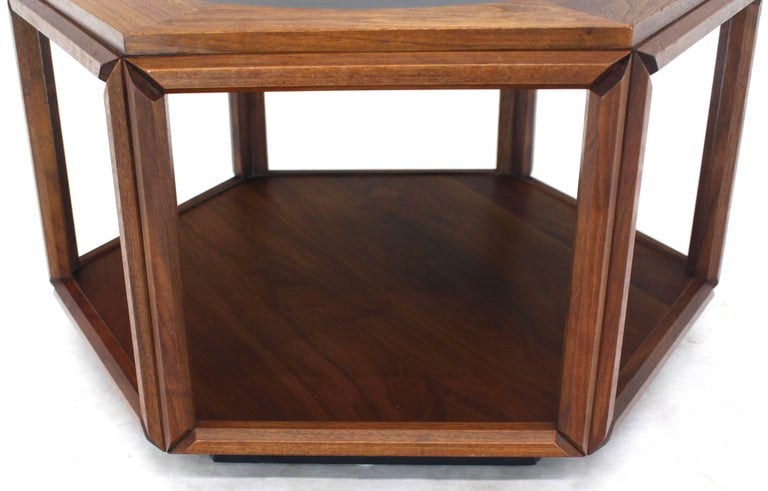 20th Century Brown Saltman Hexagonal End Table with Sunburst Inlay For Sale