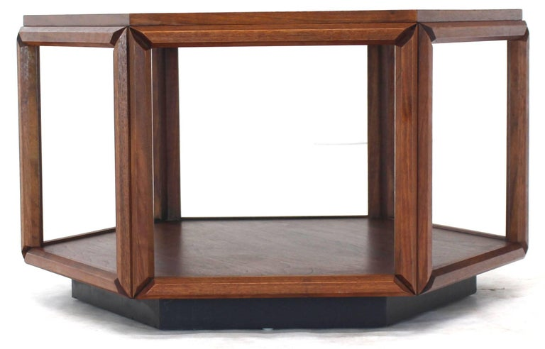 Walnut Brown Saltman Hexagonal End Table with Sunburst Inlay For Sale