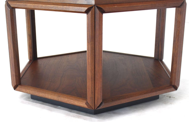 Brown Saltman Hexagonal End Table with Sunburst Inlay For Sale 1