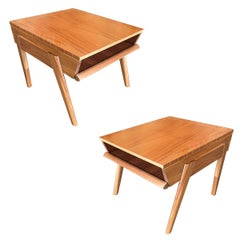 Brown-Saltman Magazine Tray Side Table by John Keal, Pair
