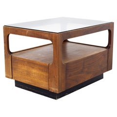 Brown Saltman Mid Century Glass Top Side End Table with Drawer