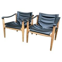 Brown Saltman Safari Sling Chairs Oak & Black Leather 1960s by Douglas Heaslett