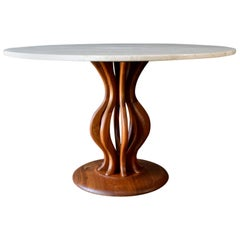 Brown Saltman Travertine and Sculpted Walnut Dining or Bistro Table, circa 1970