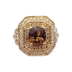 Brown Sapphire with Brown Diamond and Diamond Ring Set in 18 Karat Rose Gold