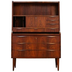 Brown Secretaire Danish Design Rosewood Vintage, 1970s