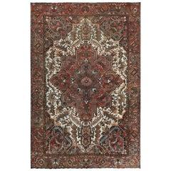 Brown Semi Antique Persian Heriz with Flower Design Oriental Rug