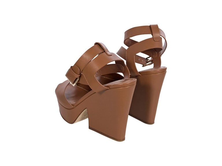 Sergio Rossi Brown Leather Platform Sandals In Good Condition For Sale In New York, NY