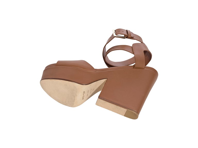 Women's Sergio Rossi Brown Leather Platform Sandals For Sale