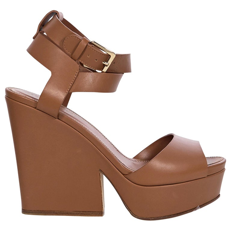 Sergio Rossi Brown Leather Platform Sandals For Sale