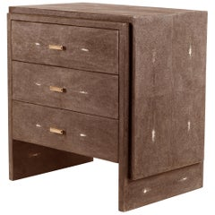 Brown Shagreen Bedside Table with Beveled Drawers by R&Y Augousti