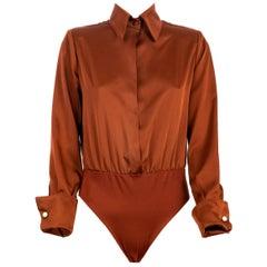 Brown silk body shirt NWOT