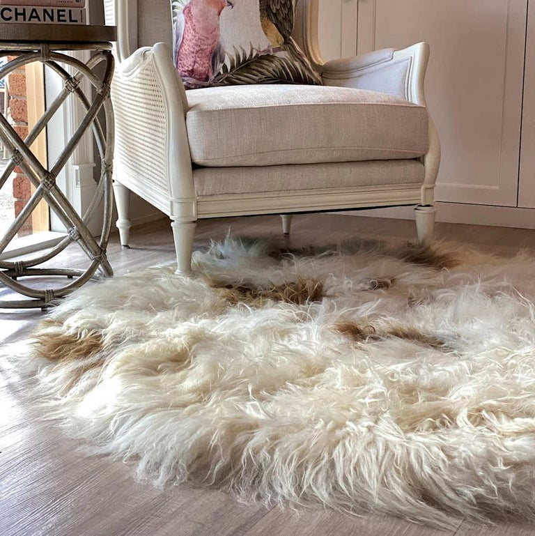 Scandinavian Modern Brown Spot Shaggy Sheepskin Rug For Sale
