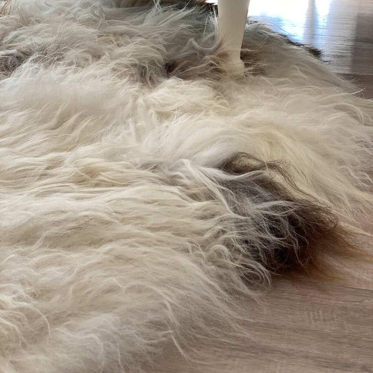 Australian Brown Spot Shaggy Sheepskin Rug For Sale