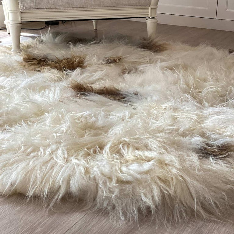 Hand-Crafted Brown Spot Shaggy Sheepskin Rug For Sale