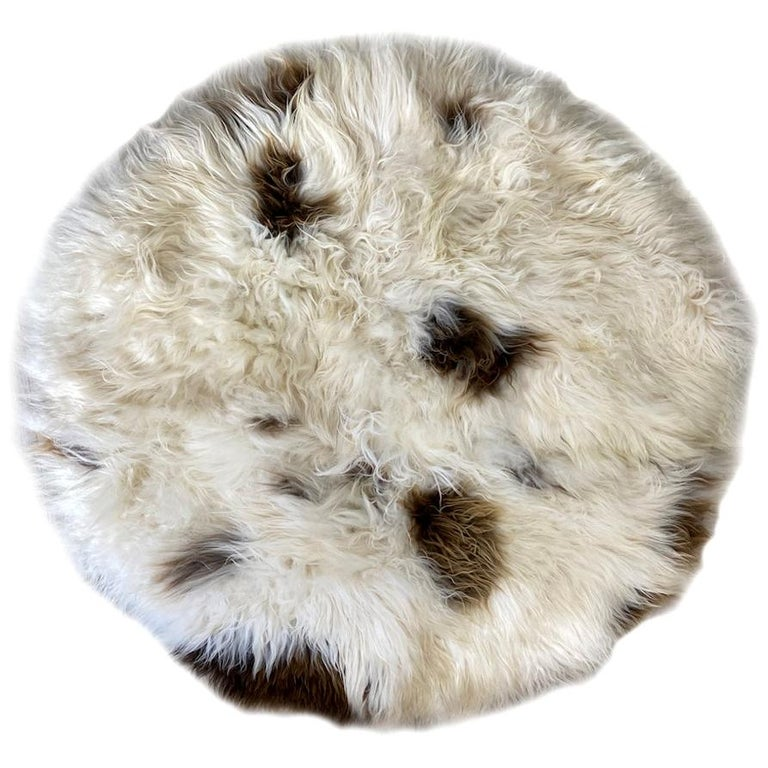 Brown Spot Shaggy Sheepskin Rug For Sale