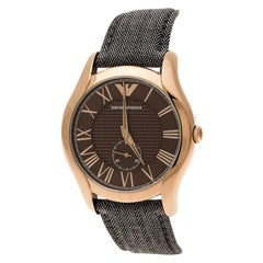 Brown Stainless Steel Dress Grey Fabric AR1985 Men's Wristwatch 43 mm