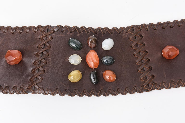 Black Brown Stitched Leather And Colored Agate Stones Tie Waist Belt with Tassels For Sale