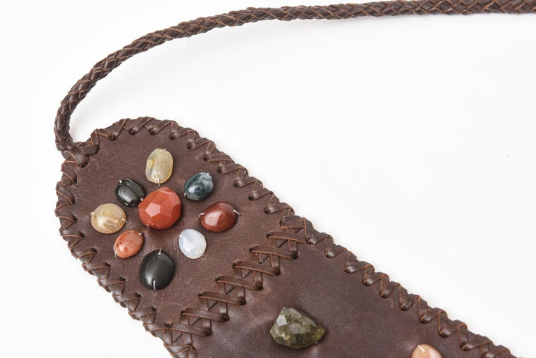 Women's Brown Stitched Leather And Colored Agate Stones Tie Waist Belt with Tassels For Sale