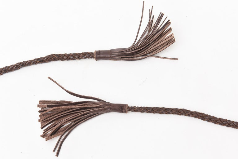Brown Stitched Leather And Colored Agate Stones Tie Waist Belt with Tassels For Sale 1