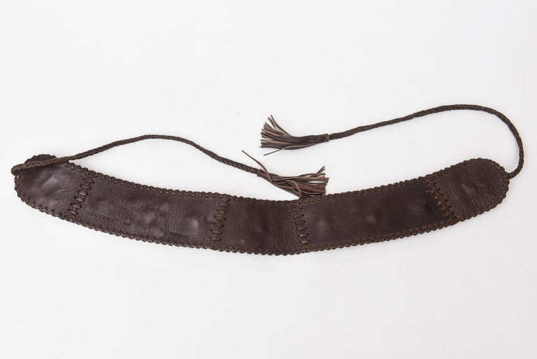 Brown Stitched Leather And Colored Agate Stones Tie Waist Belt with Tassels For Sale 2