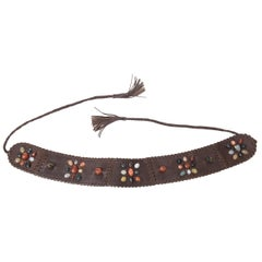 Brown Stitched Leather And Colored Agate Stones Tie Waist Belt with Tassels