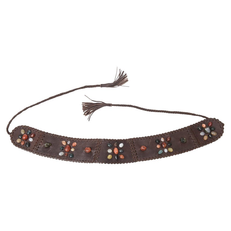 Brown Stitched Leather And Colored Agate Stones Tie Waist Belt with Tassels For Sale