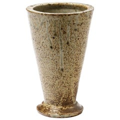 Brown Stoneware Ceramic Conical Vase Midcentury Design by Bernon