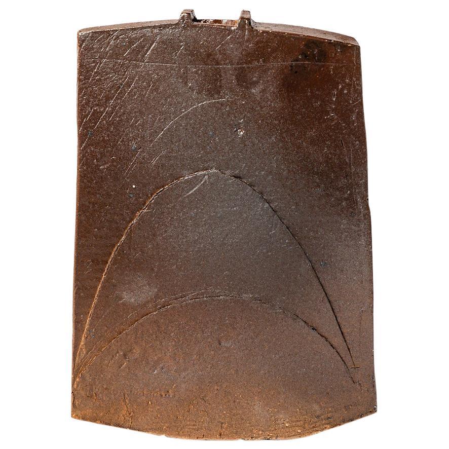 Brown Stoneware Ceramic Vase Sculpture circa 1970 La Borne Pottery
