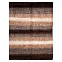 Brown Striped Modern Gabbeh Handmade Wool Rug