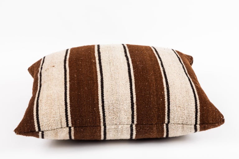 Contemporary Brown Striped Peruvian Pillow For Sale