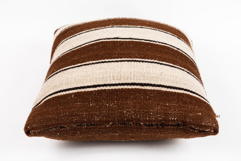Wool Brown Striped Peruvian Pillow For Sale