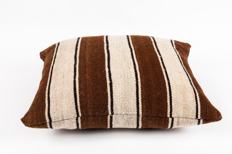 Brown Striped Peruvian Pillow For Sale 1