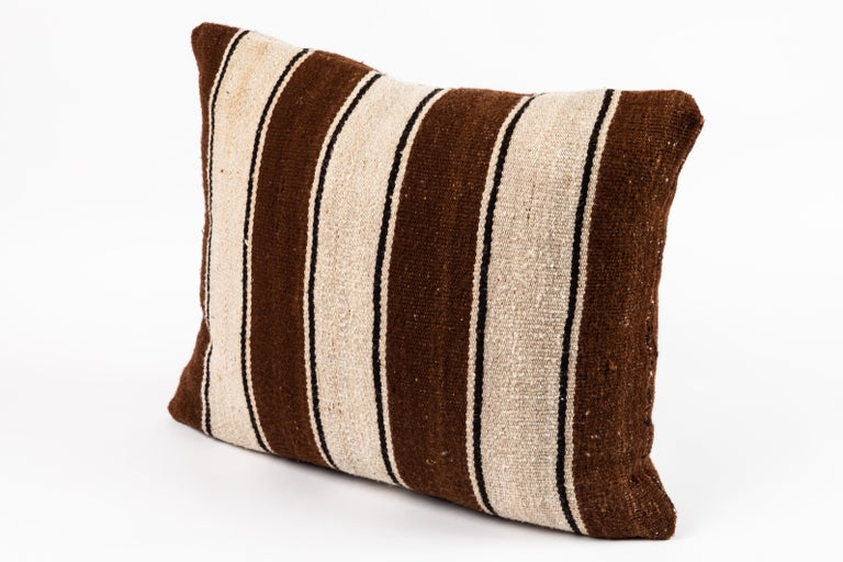 Brown Striped Peruvian Pillow For Sale 2