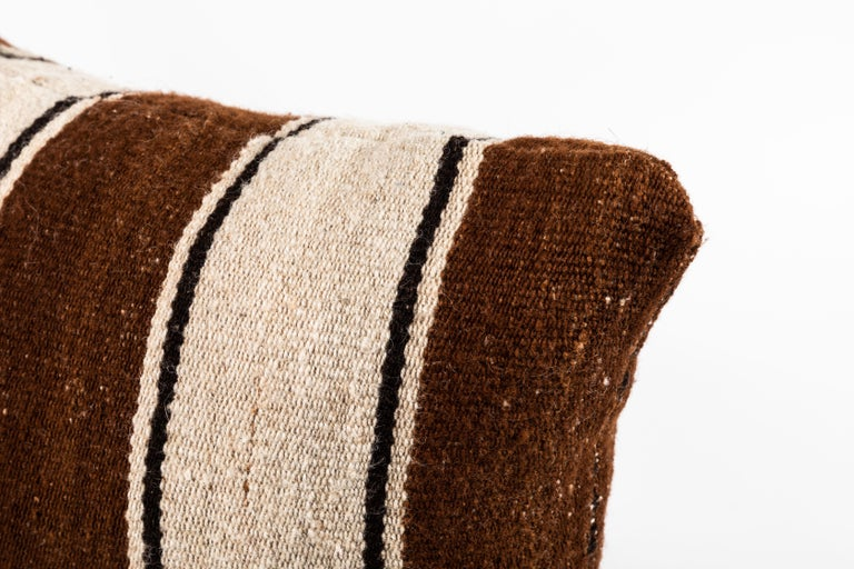 Brown Striped Peruvian Pillow For Sale 3
