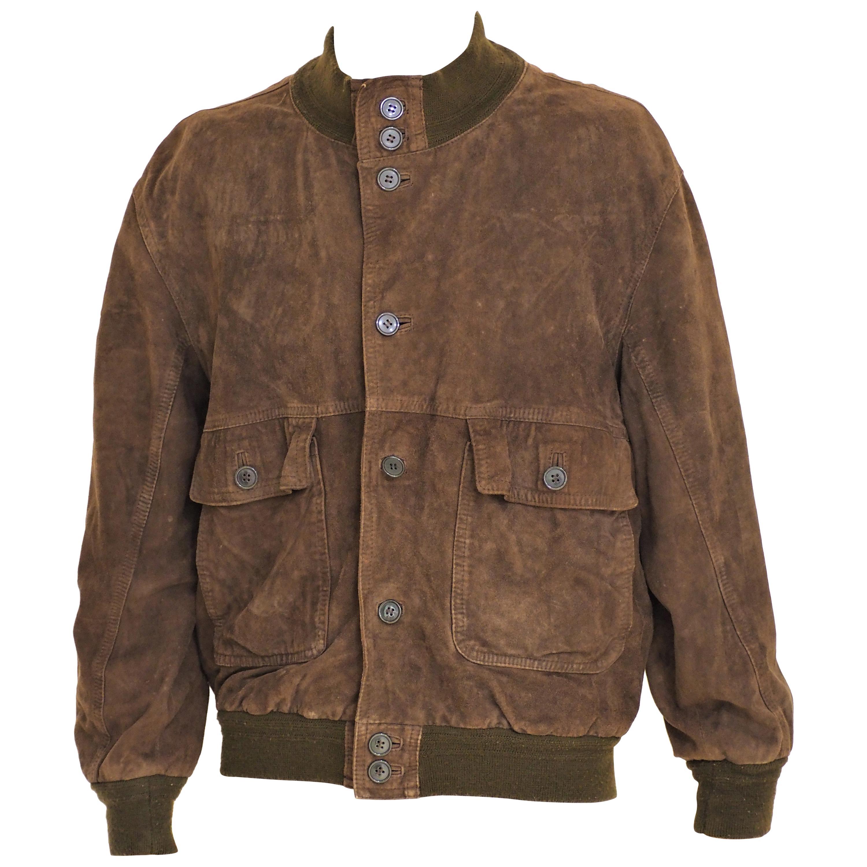 Brown suede bomber jacket