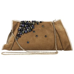 Brown Swarovski Suede Embellished Clutch