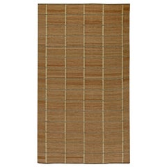 Contemporary Swedish Inspired Brown Flat-Weave Wool Rug