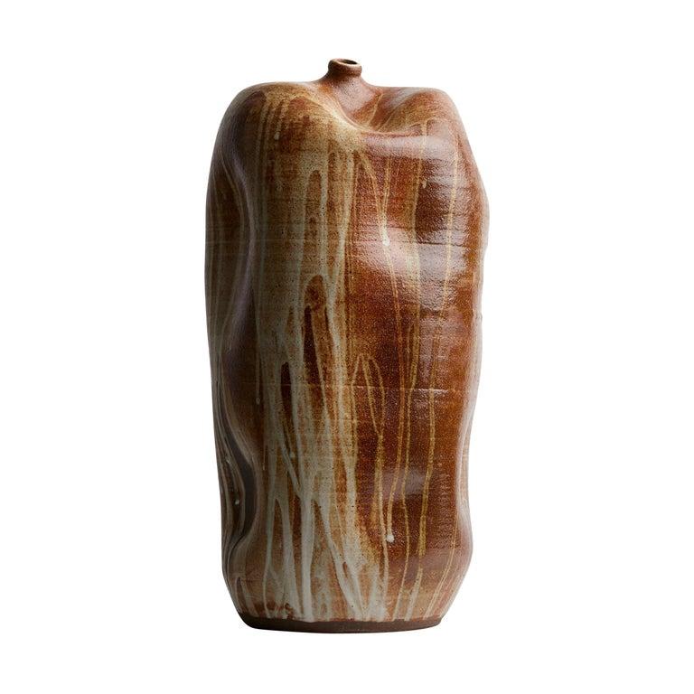 Brown Tall Handmade California Ceramic or Wabi Sabi Interior Sculpture For Sale
