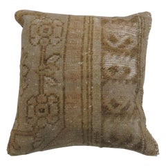 Brown Tan Wool Turkish Rug Pillow