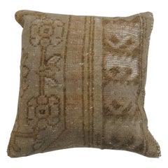 Brown Tan Wool Turkish Rug Pillow