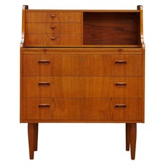 Brown Teak Secretaire Vintage Danish Design Classic, 1960s