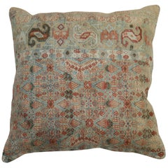 Brown Terracotta Antique Persian Rug Pillow