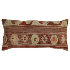 Brown Terracotta Large Kilim Turkish Bolster Pillow