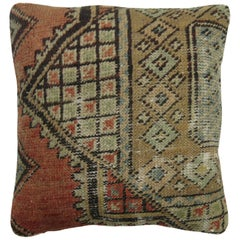 Brown Terracotta Vintage Oushak Rug Pillow
