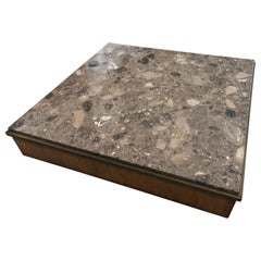 Brown Terrazzo Marble, Bronze and Wood Modern Square Coffee Table